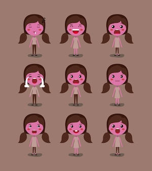 Little pink girls emoticon conjunto kawaii caracteres