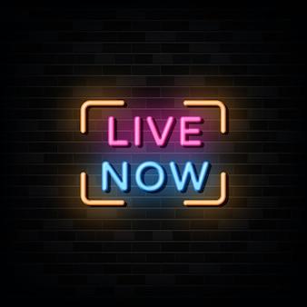 Live now texto em estilo de sinais de néon