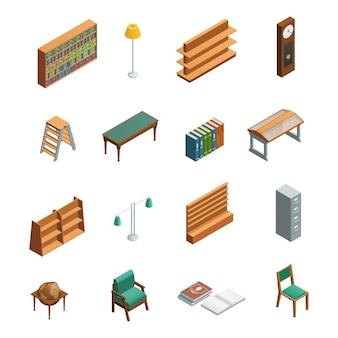 Livraria e biblioteca isométrica interior conjunto de elementos
