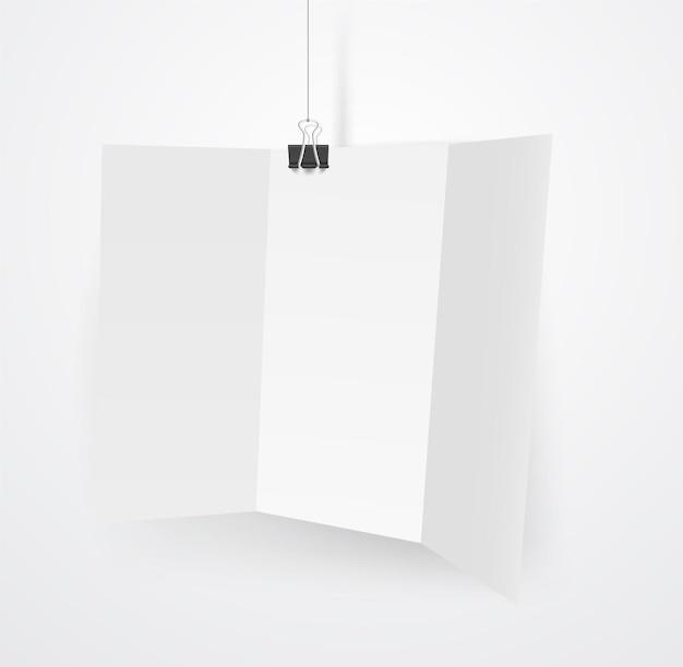Livreto branco em branco em um gancho. maquete de vetor