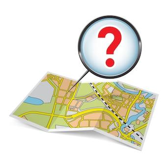 Livreto de mapa com ponto de interrogação