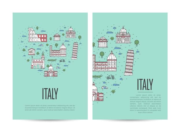 Livreto de turismo de viagem itália definido no estilo linear