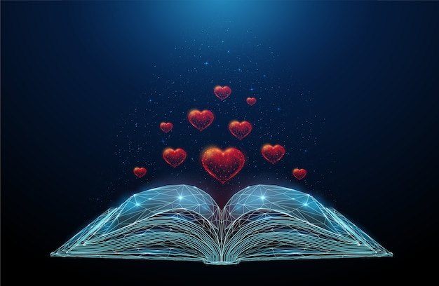 Livro aberto abstrato com corações a voar. design de estilo low poly. fundo geométrico abstrato. estrutura de conexão de luz wireframe.