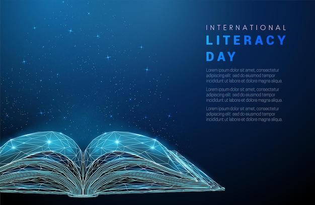 Livro aberto abstrato conceito do dia internacional da alfabetização design de estilo de baixo poli vetor de estrutura de arame