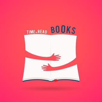 Livro aberto coberto com abraço de mãos