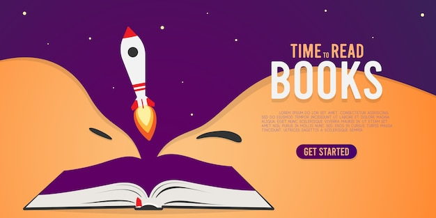 Livro aberto coberto com foguete.
