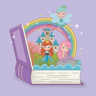 Livro aberto com a sereia de conto de fadas com fada e princesa