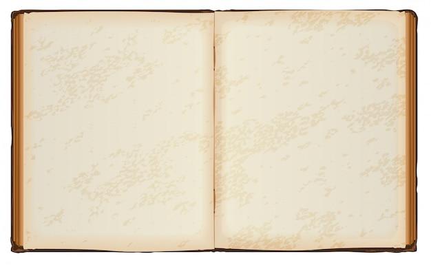 Livro aberto com antigas páginas em branco