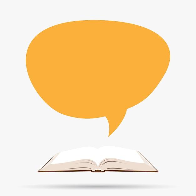 Livro aberto com balão de fala