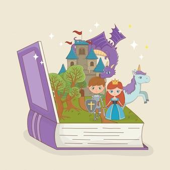 Livro aberto com castelo de conto de fadas com dragão e personagens
