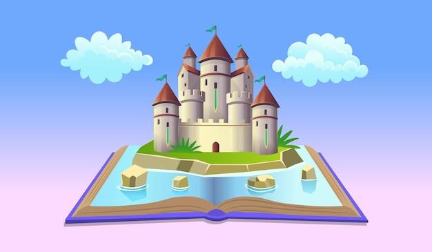 Livro aberto com castelo de fadas e nuvens