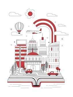 Livro aberto com cena de rua da cidade em estilo de linha fina