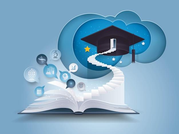 Livro aberto, com, escada, para, boné graduação