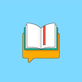 Livro aberto com fita na ilustração do ícone do vetor do símbolo do bate-papo da bolha