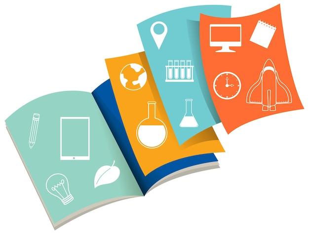 Livro aberto com ícones acadêmicos
