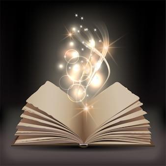 Livro aberto com luz brilhante mística