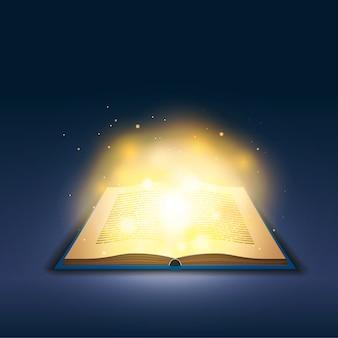 Livro aberto com mágica luz dourada no escuro