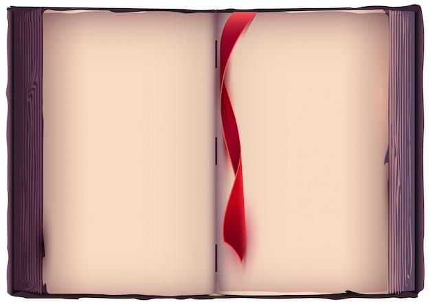 Livro aberto com marcador vermelho.