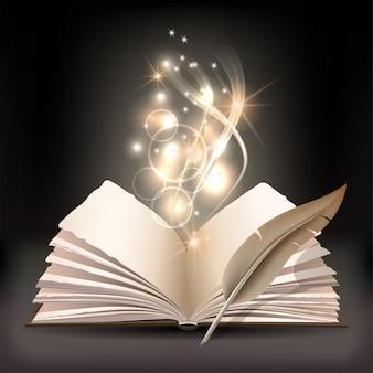 Livro aberto com mística luz brilhante e penas de ganso em fundo escuro. ilustração de cartaz mágico
