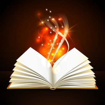 Livro aberto com mística luz brilhante sobre fundo escuro. cartaz mágico
