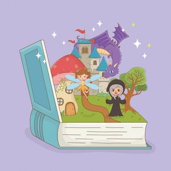 Livro aberto com o dragão de conto de fadas no castelo e bruxa