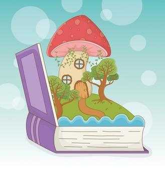Livro aberto com paisagem de conto de fadas