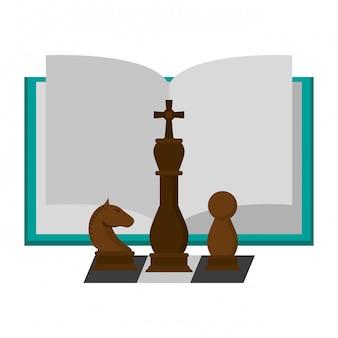 Livro aberto com peças de xadrez