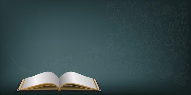 Livro aberto com rabiscos de ícone sobre fundo verde.