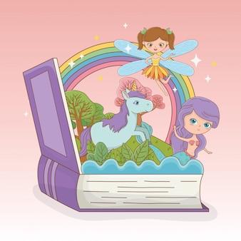 Livro aberto com sereia de conto de fadas e fada com unicórnio