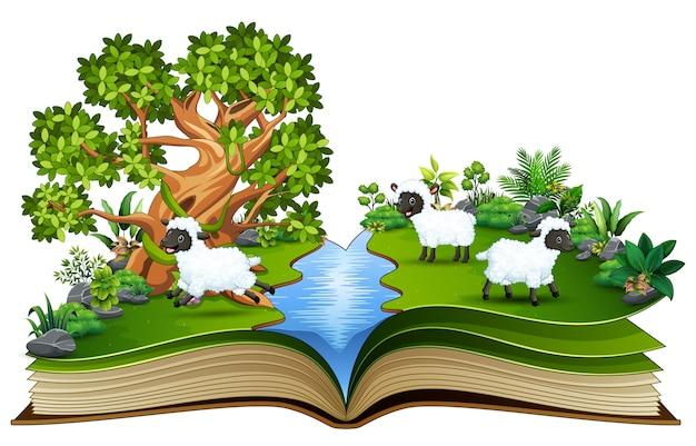 Livro aberto com um grupo de desenhos animados de ovelhas brincando no rio