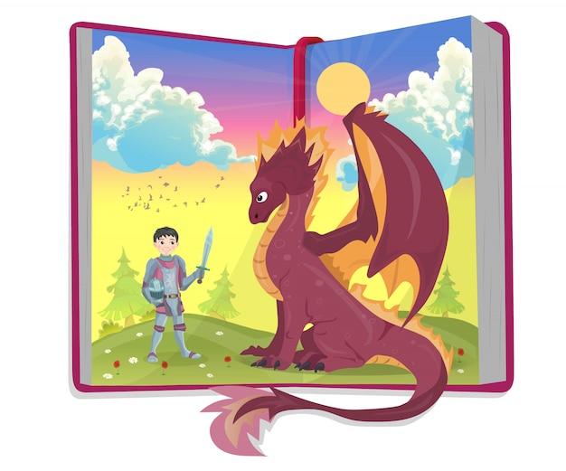 Livro aberto de contos de fadas com cavaleiro e ilustração vetorial de dragão