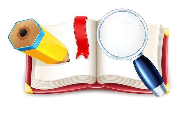 Livro aberto de desenho animado com lápis e lupa