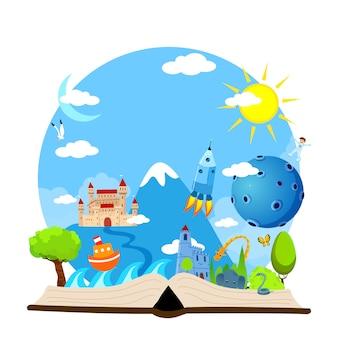 Livro aberto de imaginação com castelo, árvores, animais, sol, lua, astronauta, barco, ilustração do mar