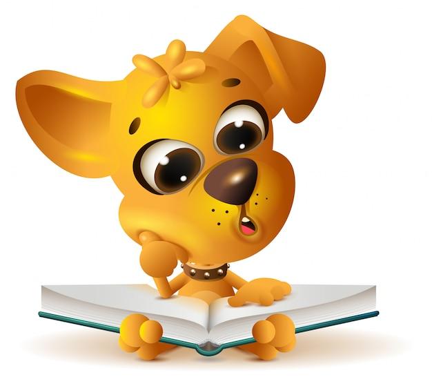 Livro aberto de leitura de cachorro amarelo