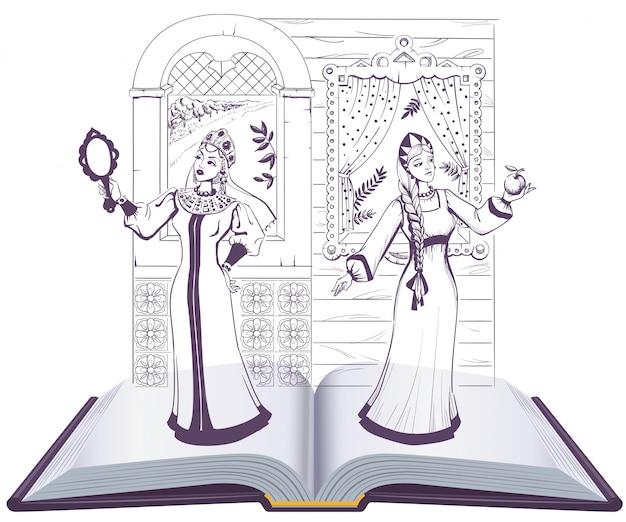 Livro aberto de pushkin sobre conto da princesa morta e dos sete cavaleiros