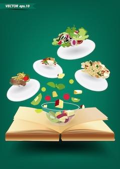 Livro aberto de vetor com conceito de cozinha