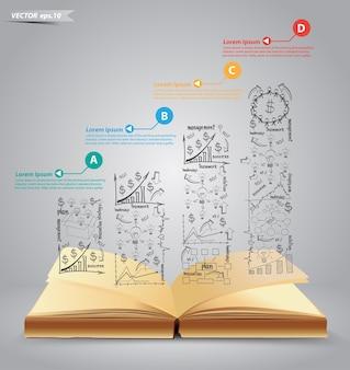 Livro aberto de vetor com sucesso de plano de negócios de desenho