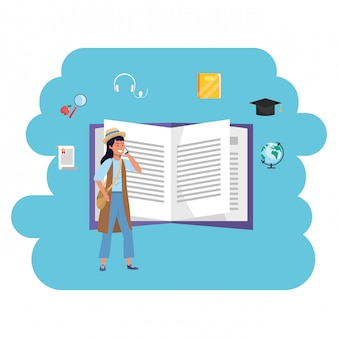 Livro aberto do estudante millennial de educação on-line