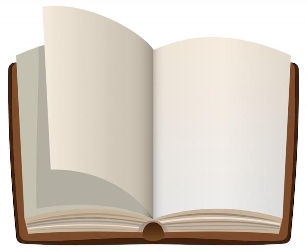 Livro aberto dos desenhos animados com páginas em branco vazias