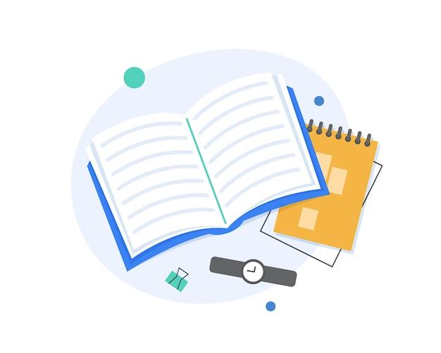 Livro aberto e caderno ilustração plana
