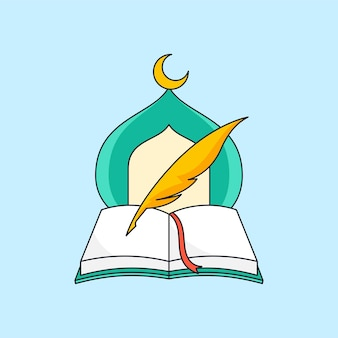 Livro aberto e caneta de pena com ilustração do design do logotipo da fundação da educação islâmica da cúpula da mesquita