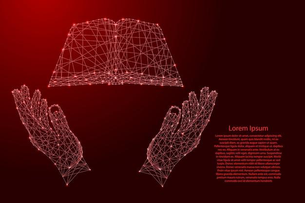 Livro aberto e dois segurando, protegendo as mãos de linhas vermelhas poligonais futuristas