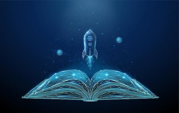 Livro aberto e foguete voador com estrelas e planetas.