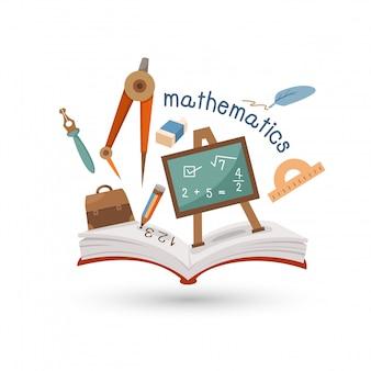 Livro aberto e ícones da matemática