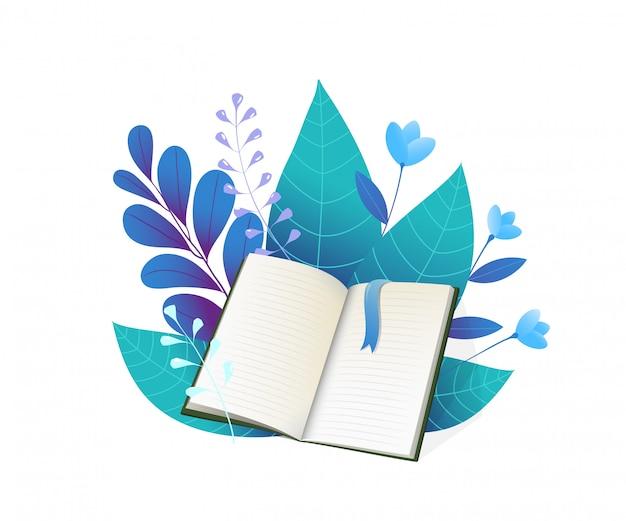 Livro aberto e ilustração plana de folhas azuis