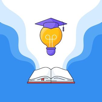 Livro aberto e lâmpada com chapéu de toga graduado na ilustração vetorial superior para educação de sucesso aprendizagem design plano dos desenhos animados de contorno