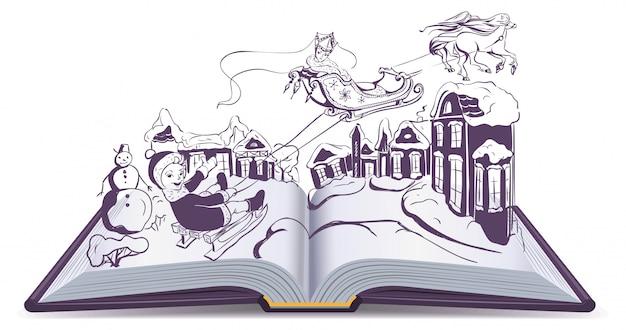 Livro aberto ilustração conto de fadas neve rainha