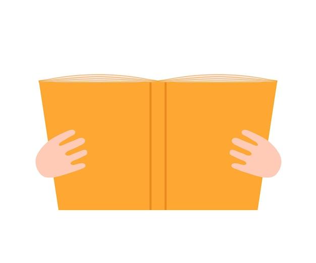 Livro aberto na mão, leia o livro e aproveite a literatura um livro aberto para a aprendizagem da leitura, educação