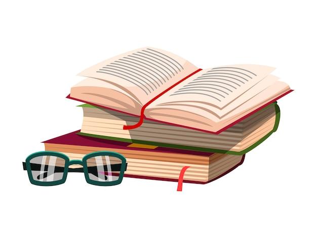 Livro aberto na pilha com óculos