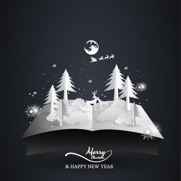 Livro aberto pop-up renas e papai noel, natal, feliz ano novo